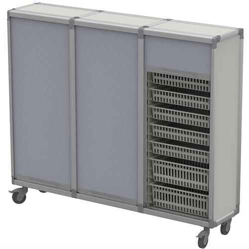 Rolling tambour doors for security on materials cart