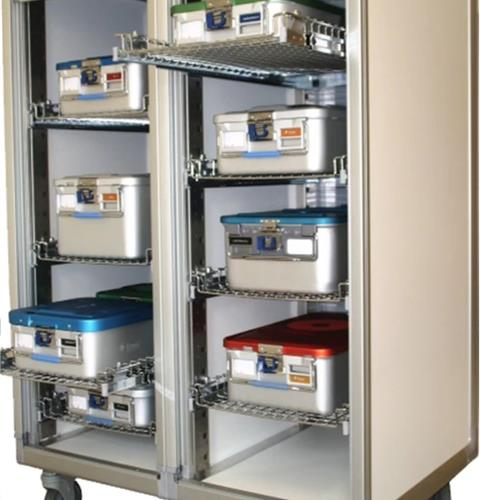 Sterile storage carts with pull out wire shelves and rolling tambour doors
