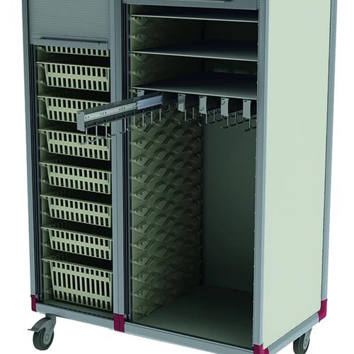 Catheter cart with pull out baskets and rolling tambour doors for security