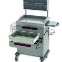 Procedure cart with slide out shelf, tilt bin trellis, glove box holder and wire side basket
