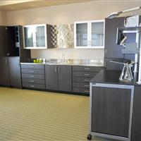 Modular Millwork with Cabinets, Sink and Cart on Wheels