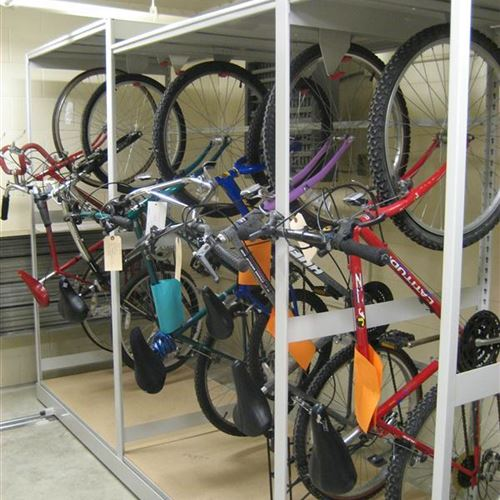 Bike Storage on Mobile Shelving at Tinley Park Police Department