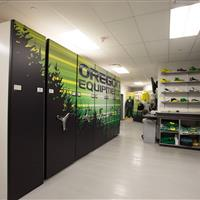 Mechanical Assist storage system in University of Oregon Basketball Equipment Room