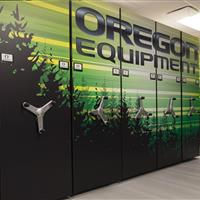 Custom Graphics on Basketball equipment storage at University of Oregon