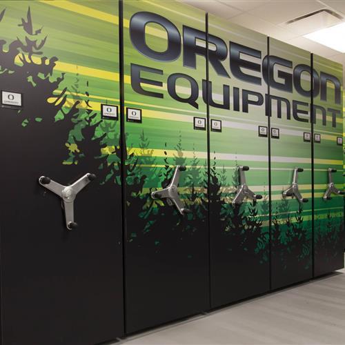 Custom Graphics on Basketball equipment storage at University of Oregon