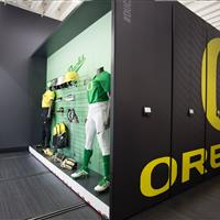 University of Oregon Softball Equipment storage End Carriage used for Player Equipment Display