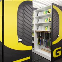 Softball bat and helmet storage at University of Oregon