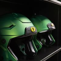 Football helmet storage on 4-post shelving at University of Oregon