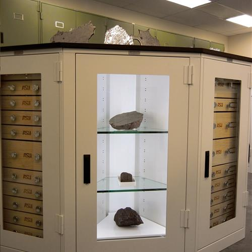 Meteorite displayed in cabinet at Arizona State University