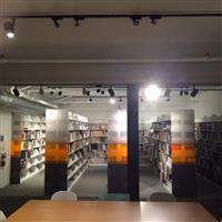 Complete Cantilever shelving with custom acrylic end panels for UCR California Museum of Photography