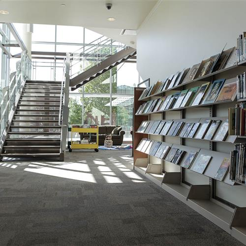 Cantilever shelving allows staff to reconfigure and change the book displays whenever they feel the need to.jpg