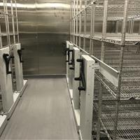 2 systems of Stainless steel mechanical assist high density mobile system in refrigerated room