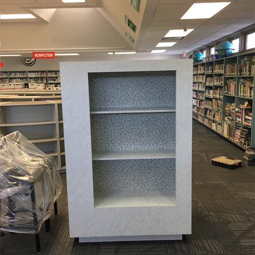 Inside of a mobile shelving unit for a School library