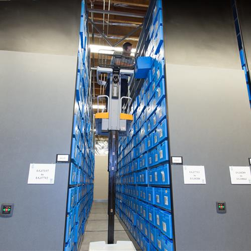 Offsite evidence storage on high density shelving