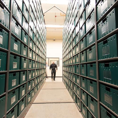 Drug evidence stored on compact shelving at the Tucson Police Department
