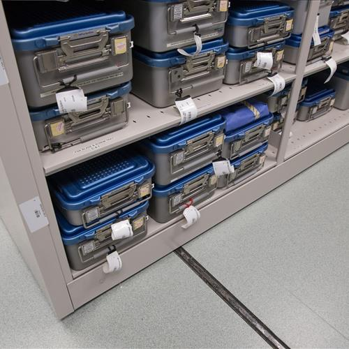Sterilized surgical tray storage at Memorial Hospital of Carbondale
