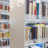 Cantilever illuminated book shelving at Riddell library and learning centre