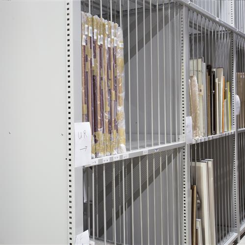 Divider bars help store art work at Calgary, Canada