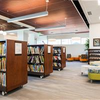 Library carts with open space area