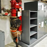 Raymond Alf Museum open type shelving with cabinets