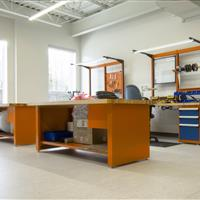 Wood finish Rousseau Workstation with cabinets