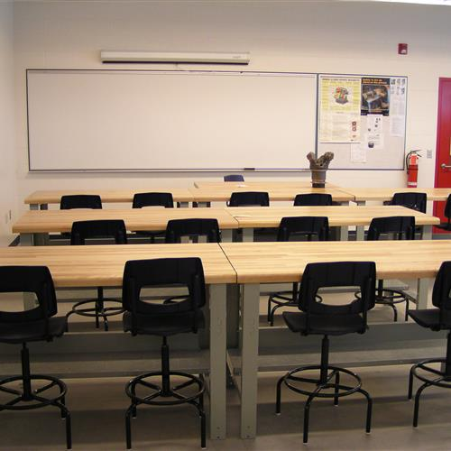 Rousseau wood tabletop workstations in classroom setting
