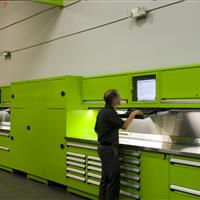 Rousseau green workstation with computer storage integrated in