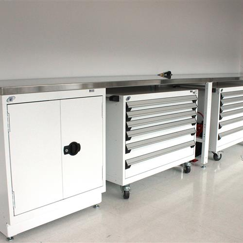 Rousseau white workstation with multi-drawer cabinets