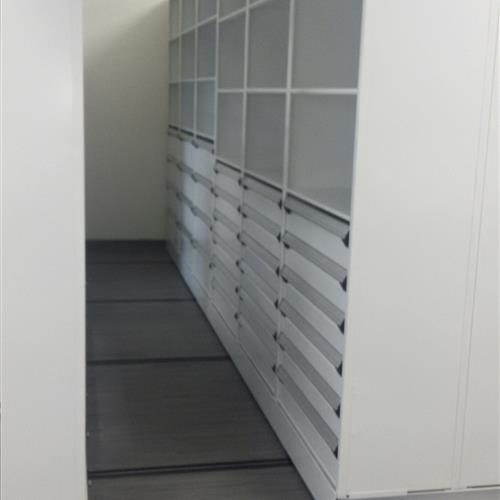 High Density Mobile System with drawers and open shelving at an Automotive research and design center