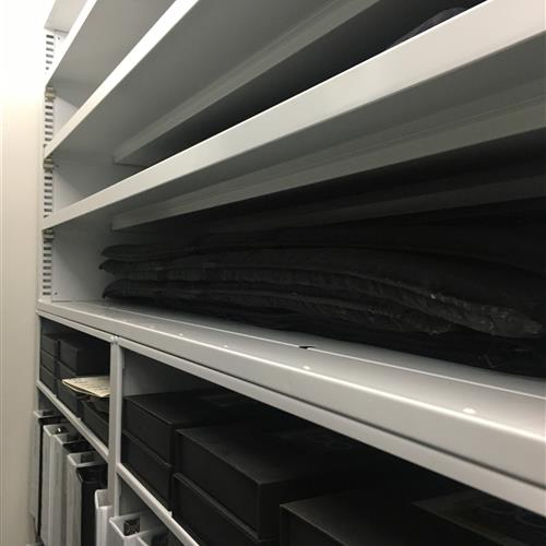 Rows of open shelving on a Mobile System at an Automotive research and design center