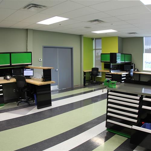 Rousseau Corner Workstation With Overhead Cabinets