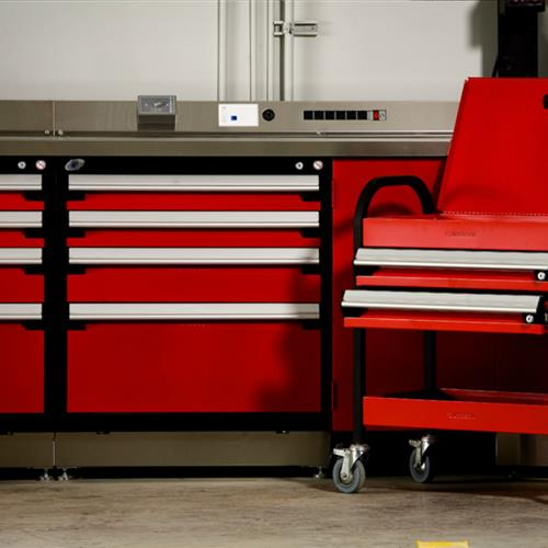 Rousseau red workstation with moveable cabinet