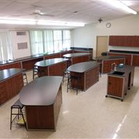 Modular Millwork demo sink station with laboratory desks in classroom