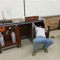 Installation of Modular Millwork demo sink station in classroom laboratory
