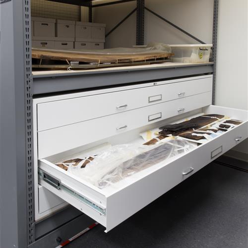 Oversized museum storage in flat storage drawers