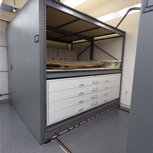 Spacesaver engineers designed extra-large drawers and cabinets to accommodate large artifacts