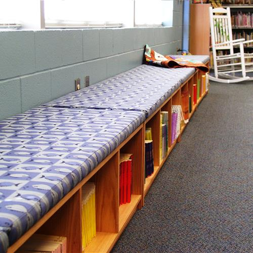 Seating with shelving underneath