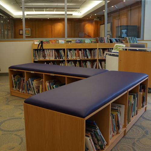 Shelving with seating on top