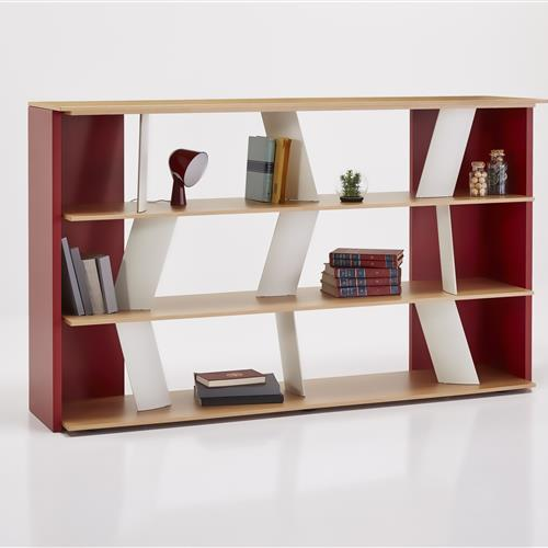 3 rows of shelving shelf unit with opposite dividers