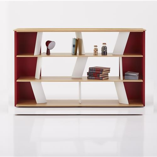 Modern shelving units with 3 rows of storage