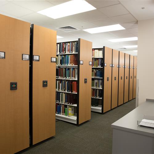 Powered mobile shelving in library's public areas