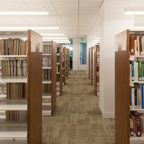 Static library shelving at Daniel Morgan Graduate School