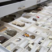 Artifact storage collections at an on-site museum
