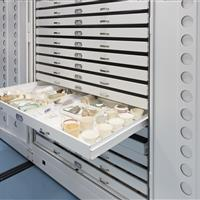 Museum cabinets on mobile provide a clean compact preservation environment