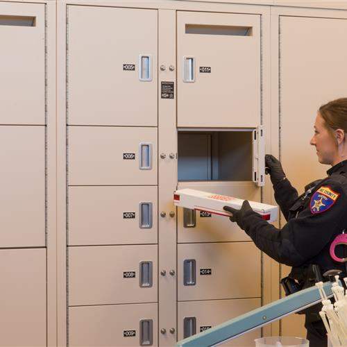 Evidence lockers secure the chain of custody