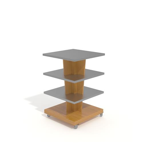 Display unit with 4 levels and on wheels