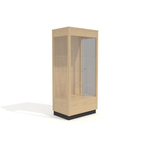 Tall Display Case with 3 clear sides and wood backing