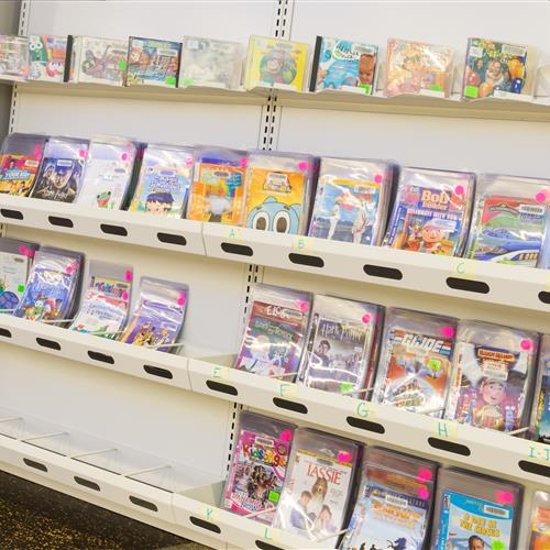 Video game storage at heights for easy viewing for children