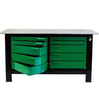 Green swivel cabinets on workbench