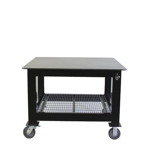 Square top welding table on casters